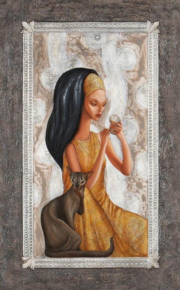 Женщина и кошка 15 рисунков картинки